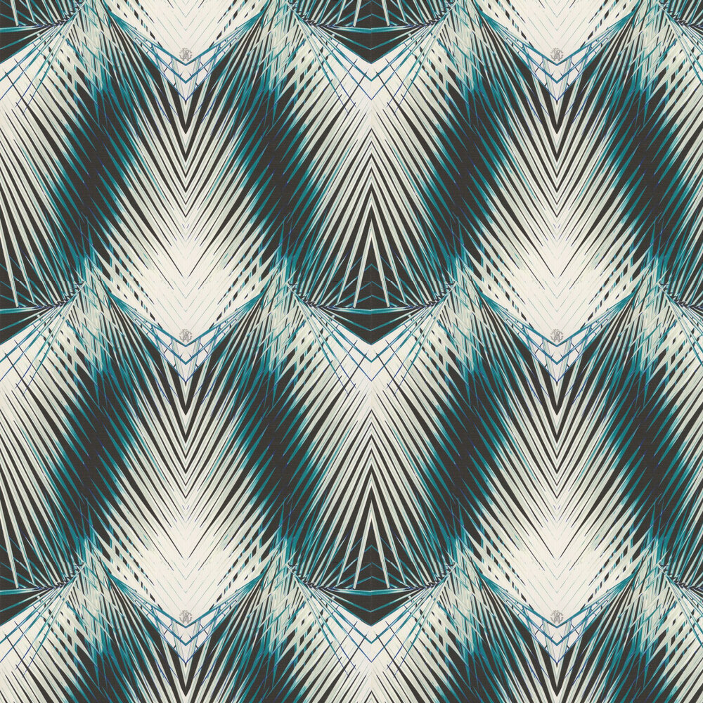 Geometric Palm Wallpaper - Teal and White - by Roberto Cavalli