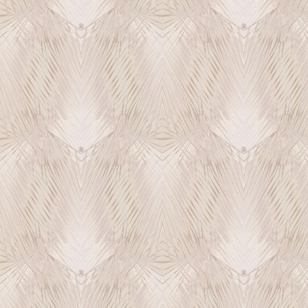 Geometric Palm Wallpaper - Off White and Taupe - by Roberto Cavalli