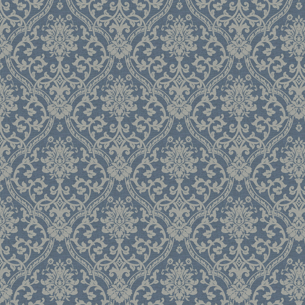 Damask Wallpaper - Navy - by Albany