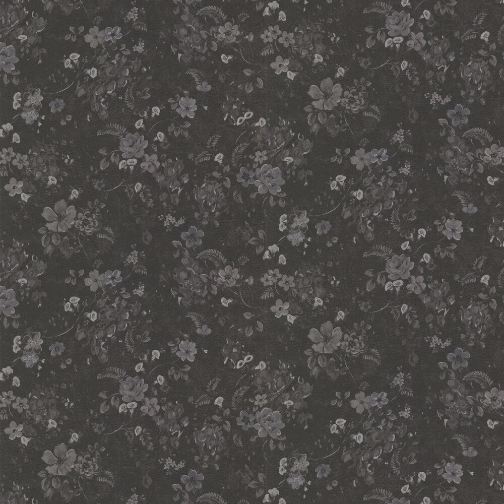 Roberto Cavalli Embroidered Floral Black Wallpaper - Product code: 17024