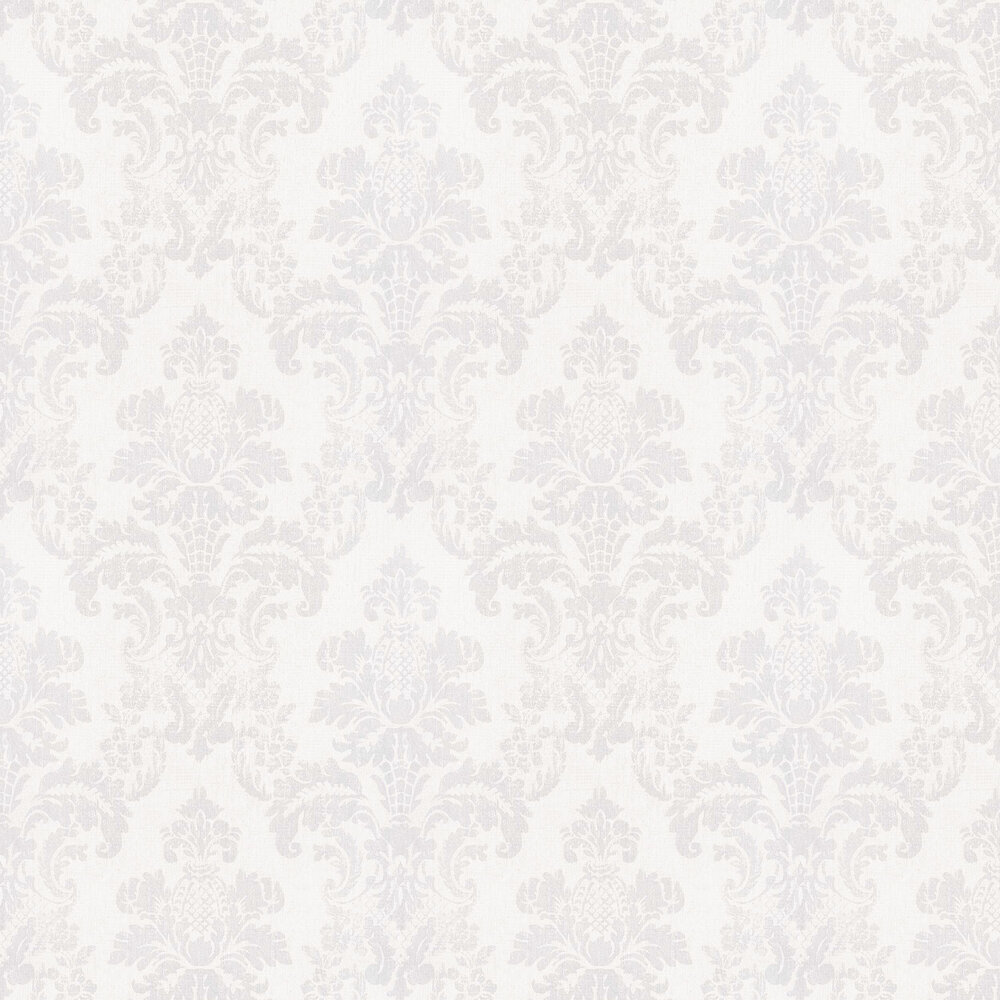 Distressed Damask Wallpaper - Opal White - by Albany