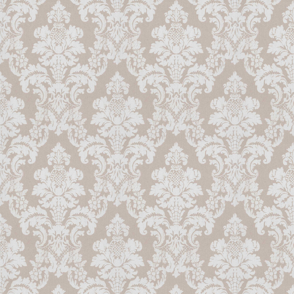 Distressed Damask Wallpaper - Beige - by Albany