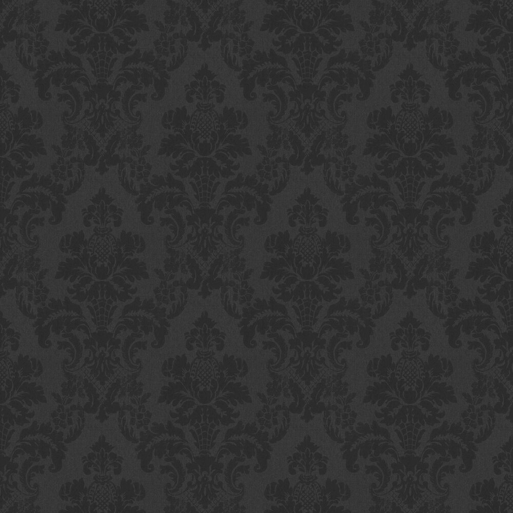 Distressed Damask Wallpaper - Black - by Albany