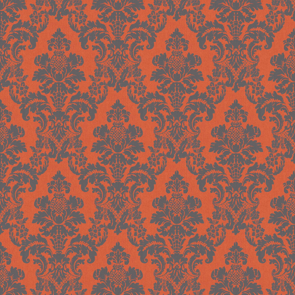Distressed Damask Wallpaper - Orange - by Albany
