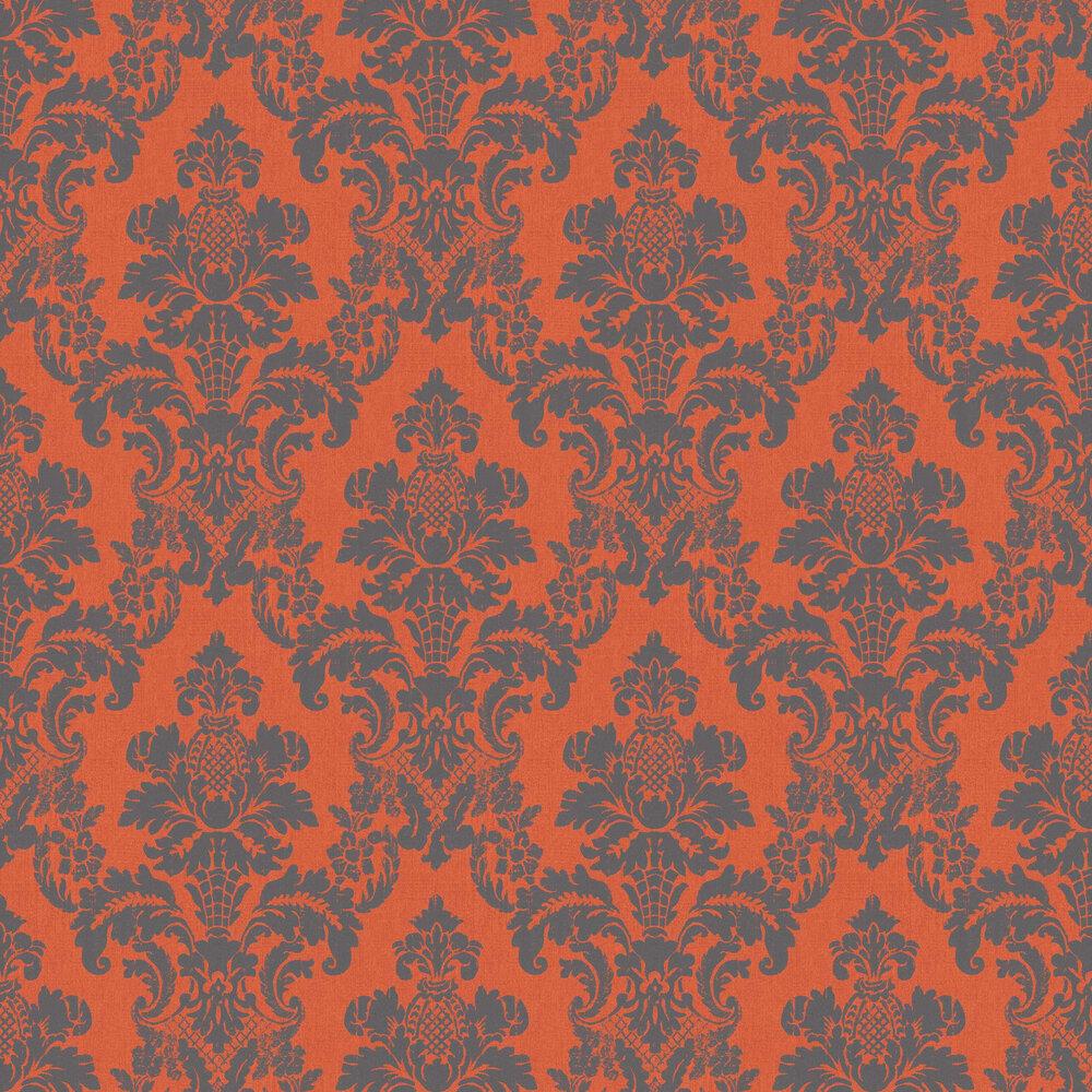 Albany Distressed Damask Orange Wallpaper - Product code: 200256