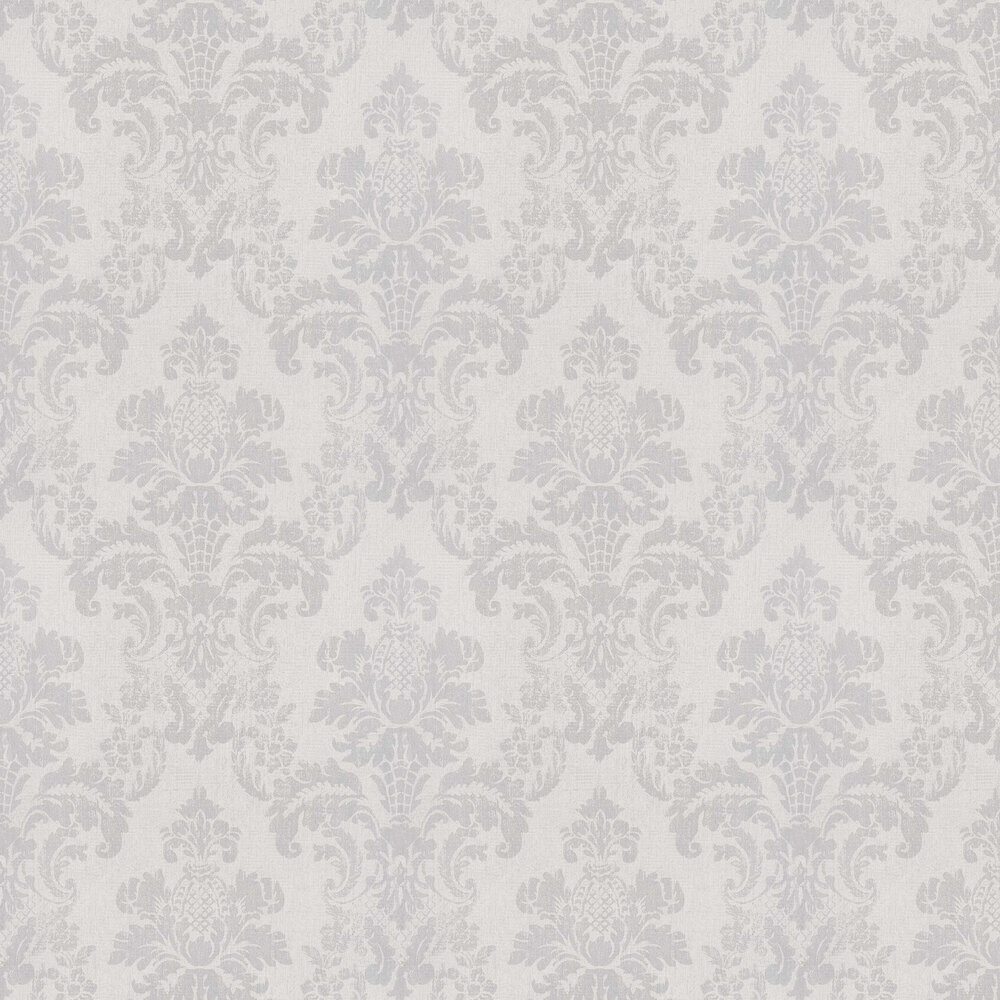 Distressed Damask Wallpaper - Silver / Cream - by Albany