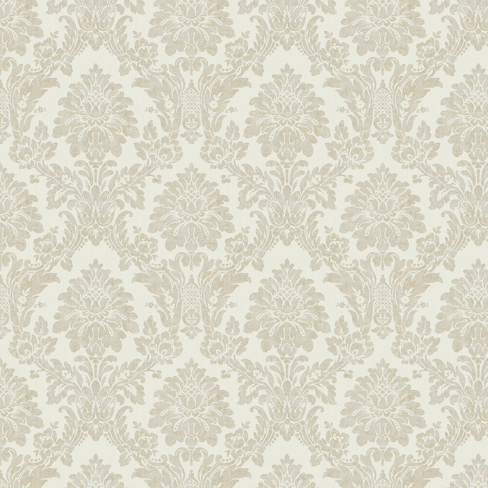 String Damask Wallpaper - Grey / Gold - by Albany