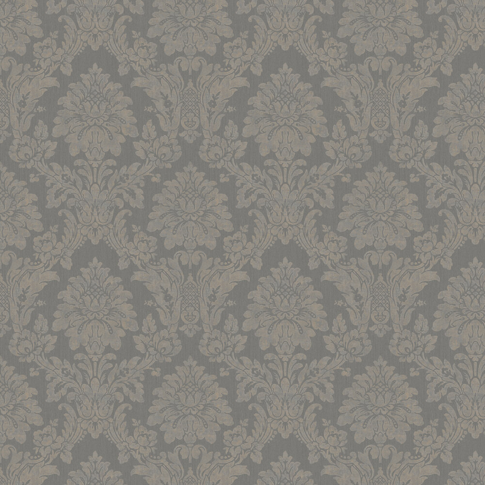String Damask Wallpaper - Black / Gilver - by Albany