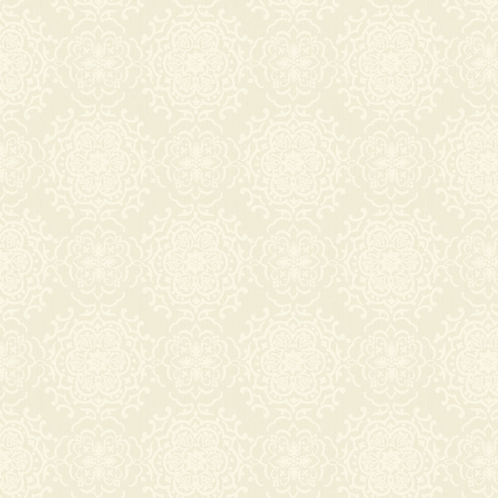 String Medallion Wallpaper - White / Gold - by Albany