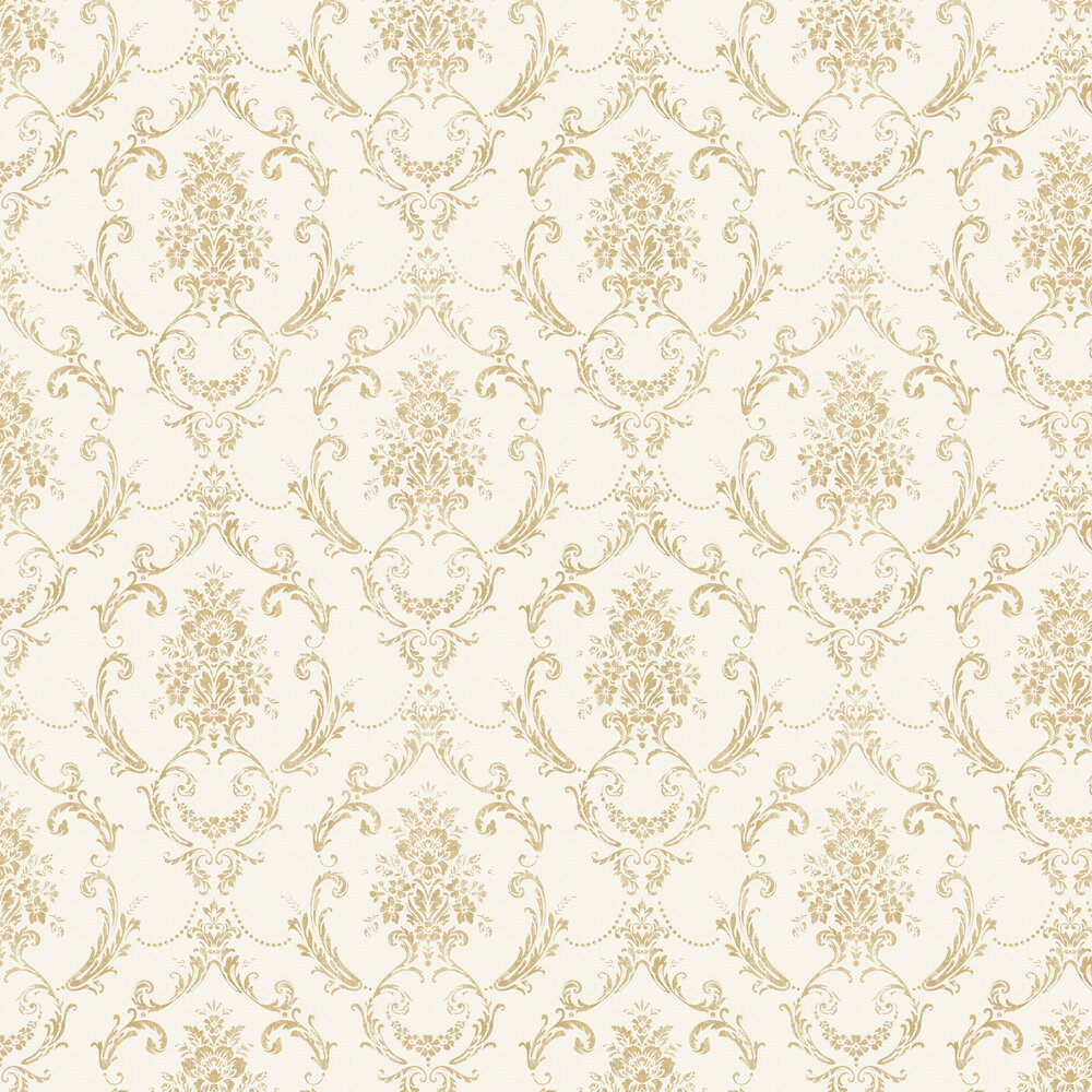 Linen Cameo Wallpaper - White / Gold - by Albany