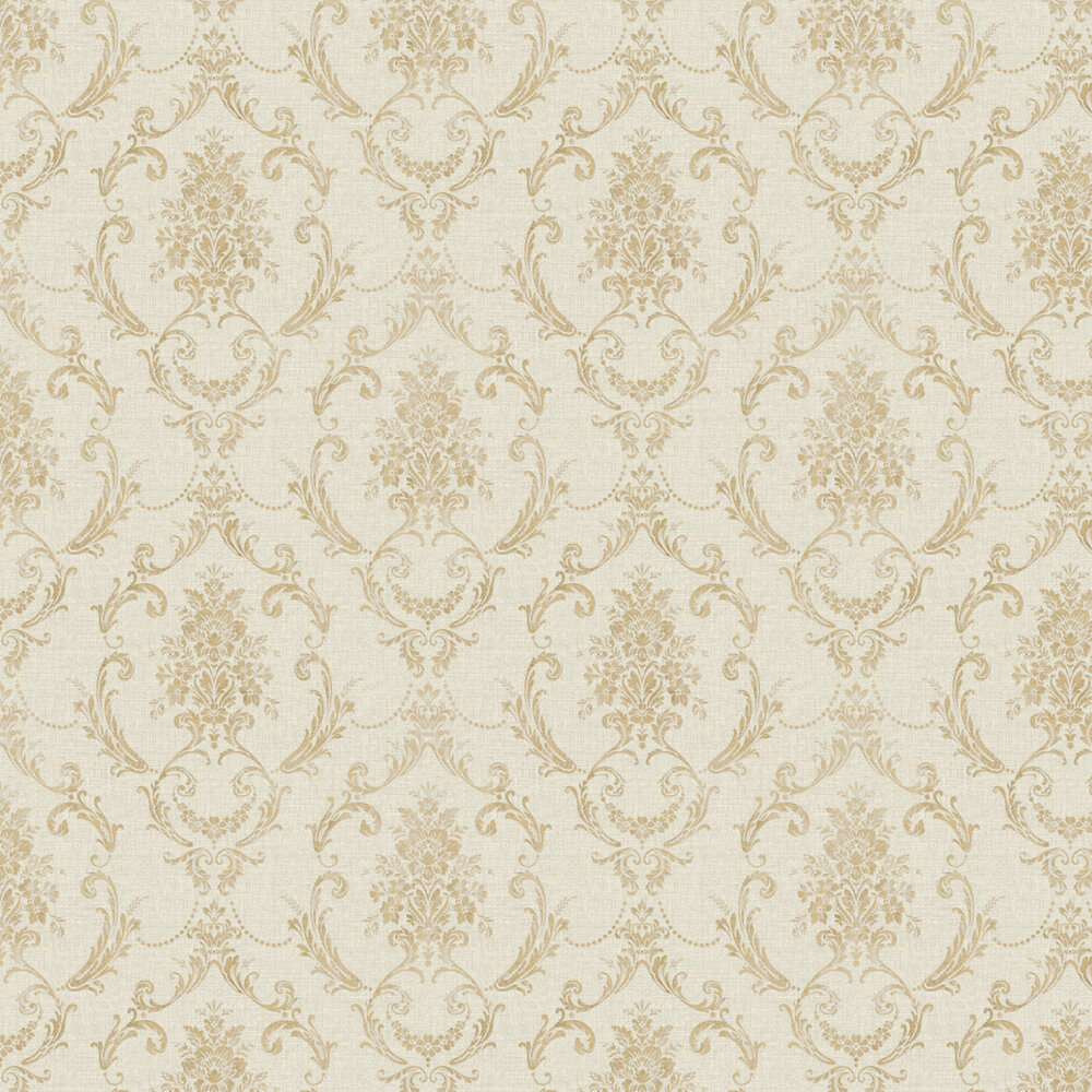 Linen Cameo Wallpaper - Warm Beige / Gold - by Albany