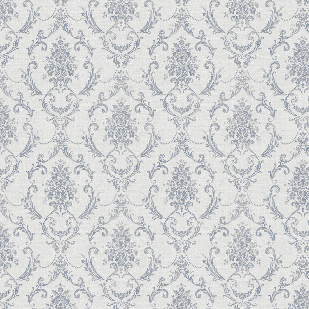 Albany Linen Cameo Grey / Navy Wallpaper - Product code: 25040
