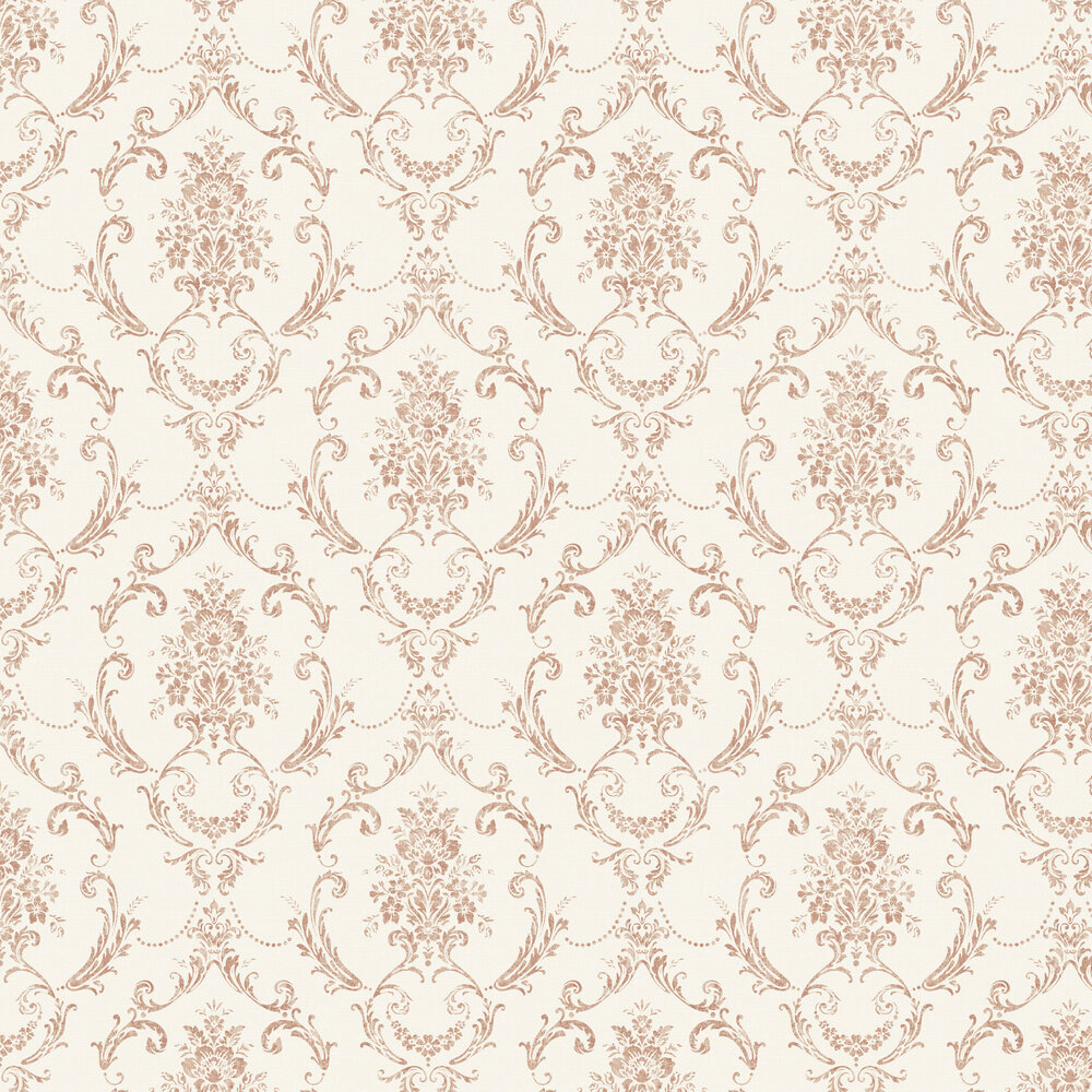 Linen Cameo Wallpaper - White / Copper - by Albany