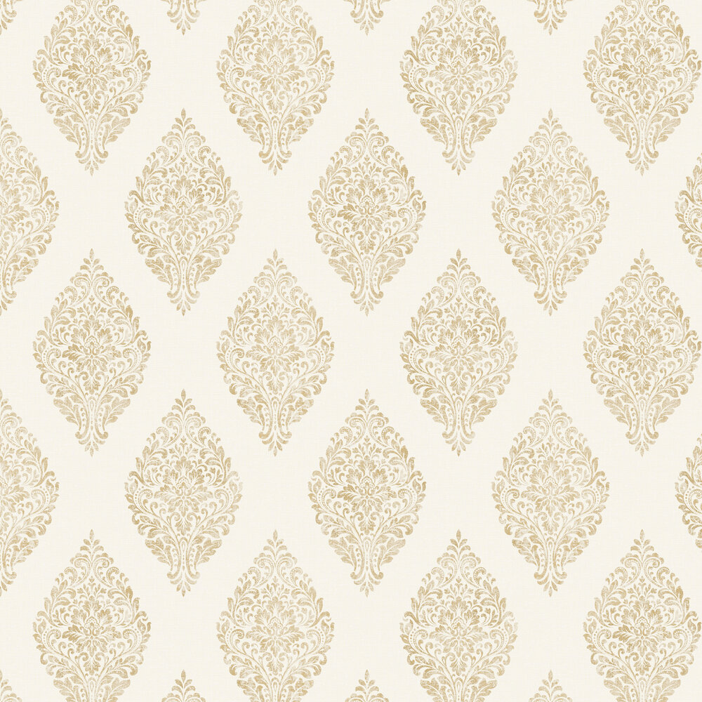 Linen Medallion Damask Wallpaper - White / Gold - by Albany