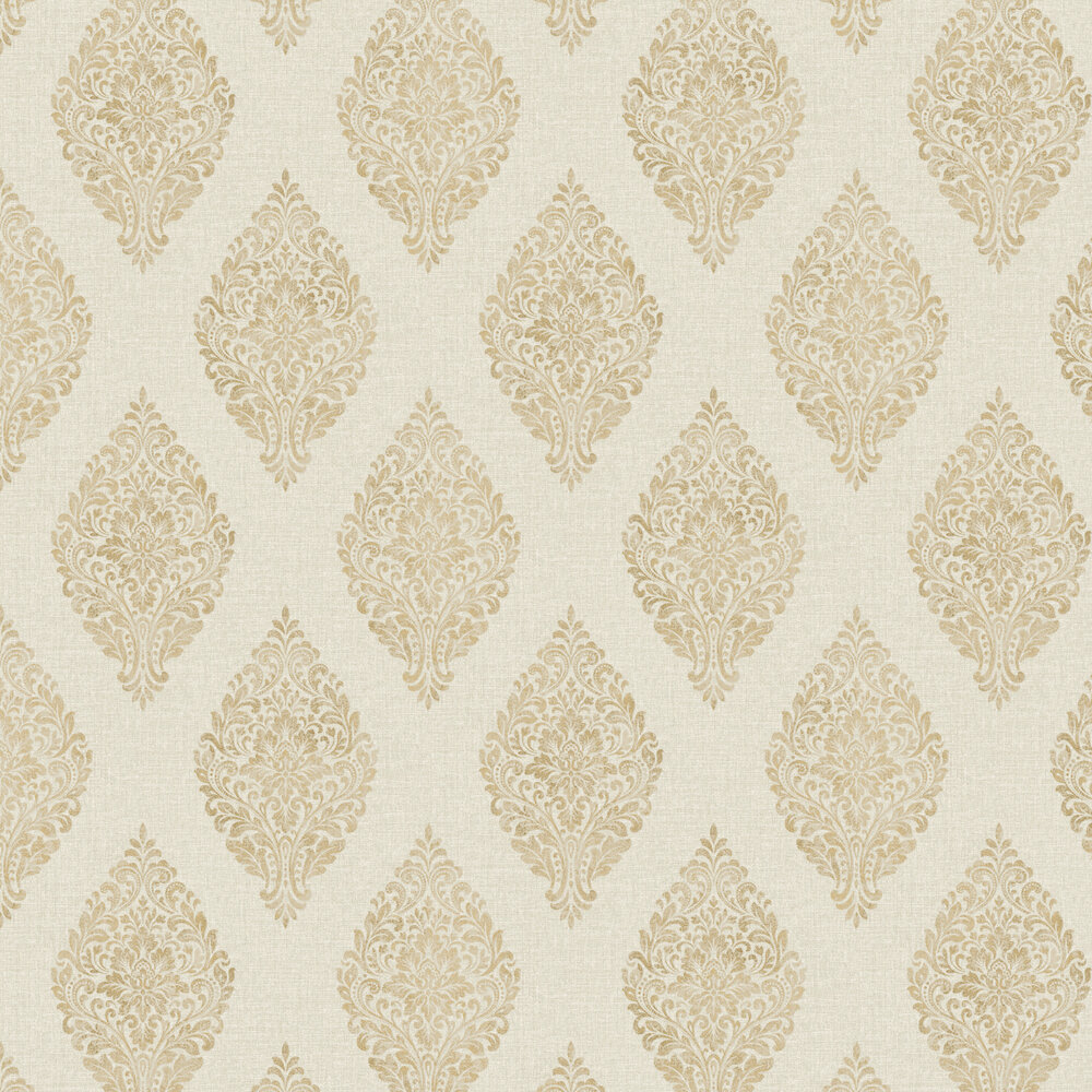 Linen Medallion Damask Wallpaper - Warm Beige / Gold - by Albany