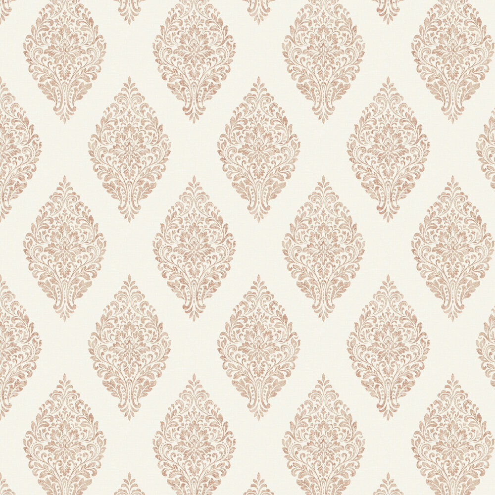 Linen Medallion Damask Wallpaper - Cream / Copper - by Albany