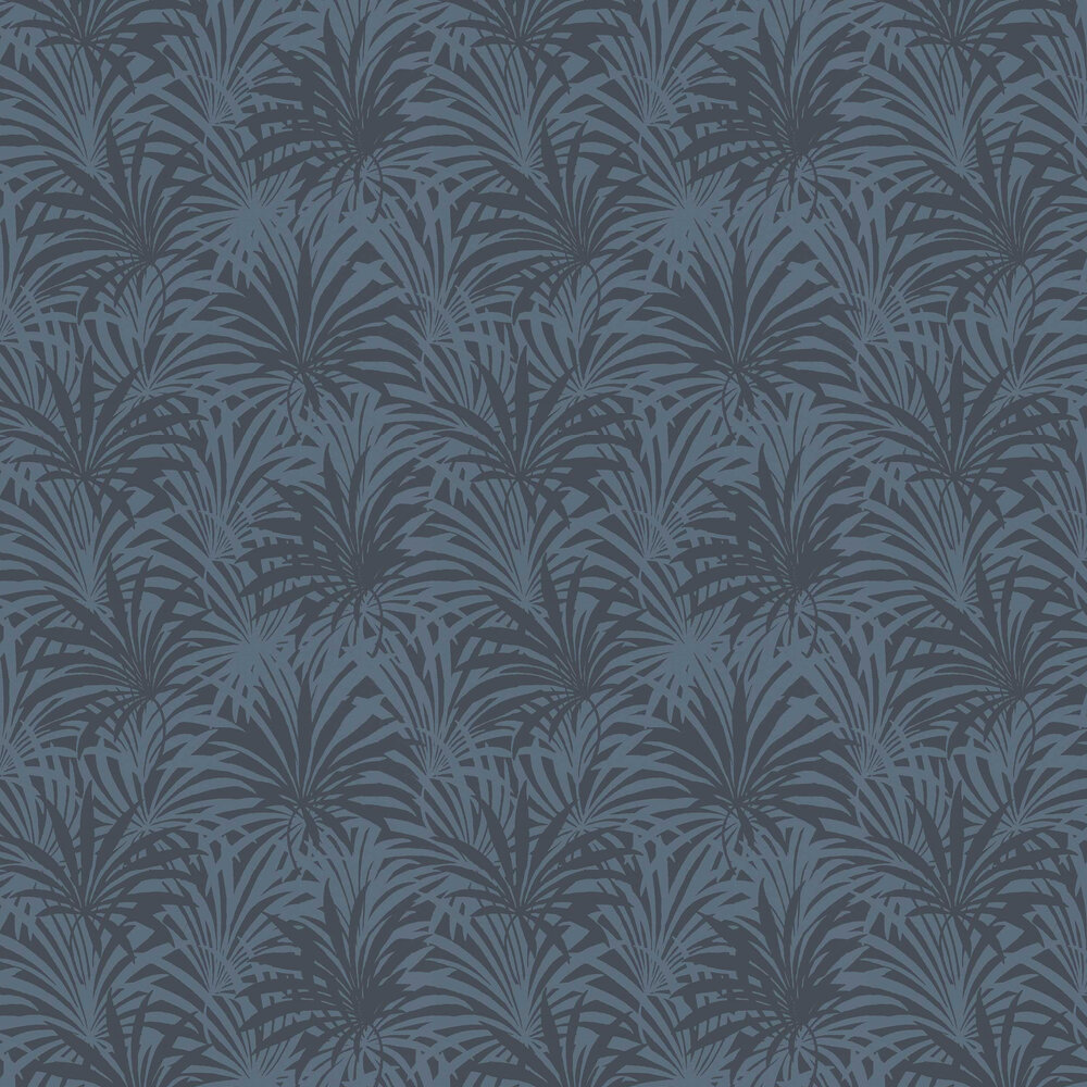 Palm Leaf Wallpaper - Blue - by Albany