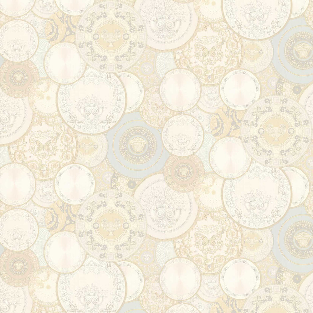 Decorative Plates Wallpaper - Cream - by Versace