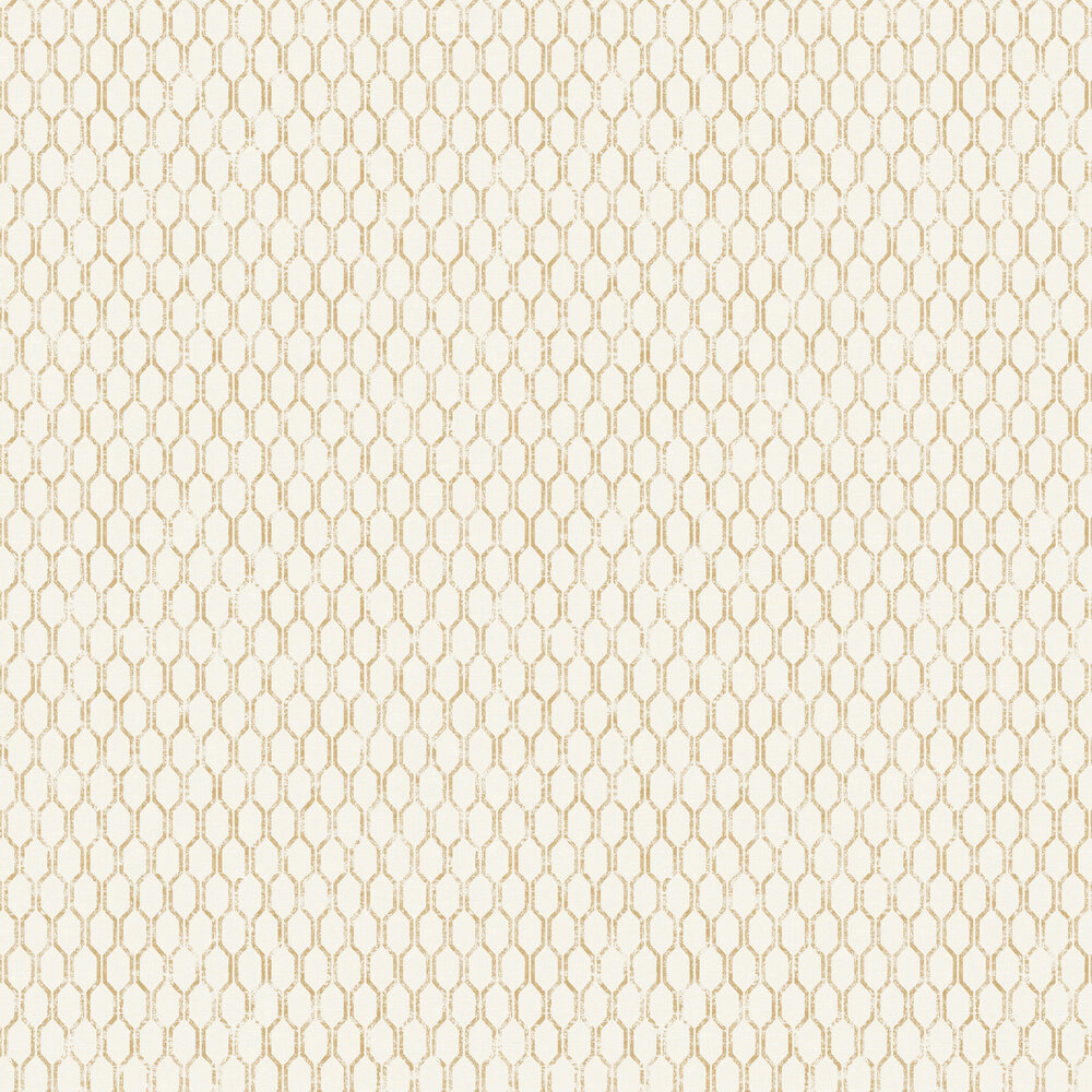Albany Linen Small Geo White / Gold Wallpaper - Product code: 25046