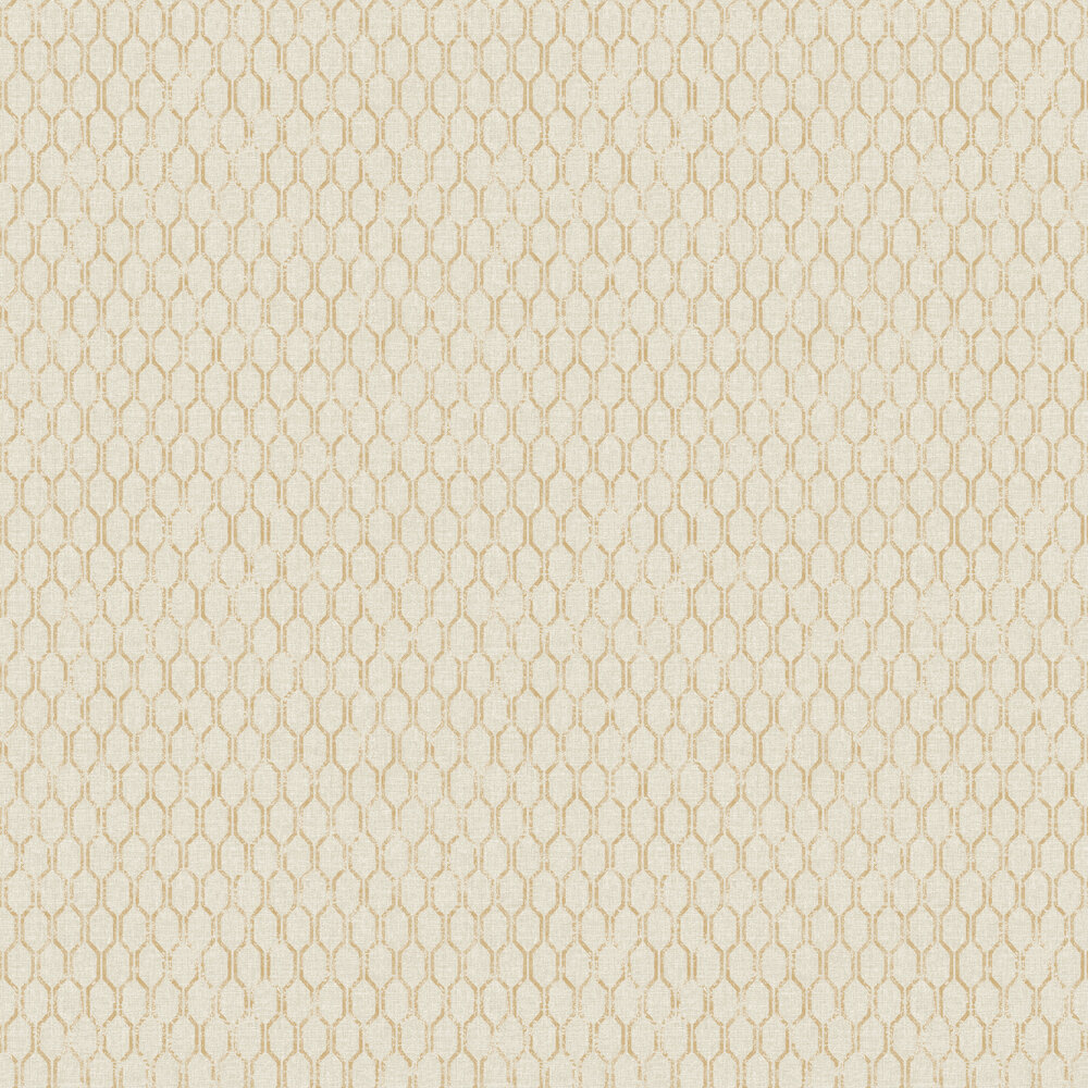 Linen Small Geo Wallpaper - Warm Beige / Gold - by Albany