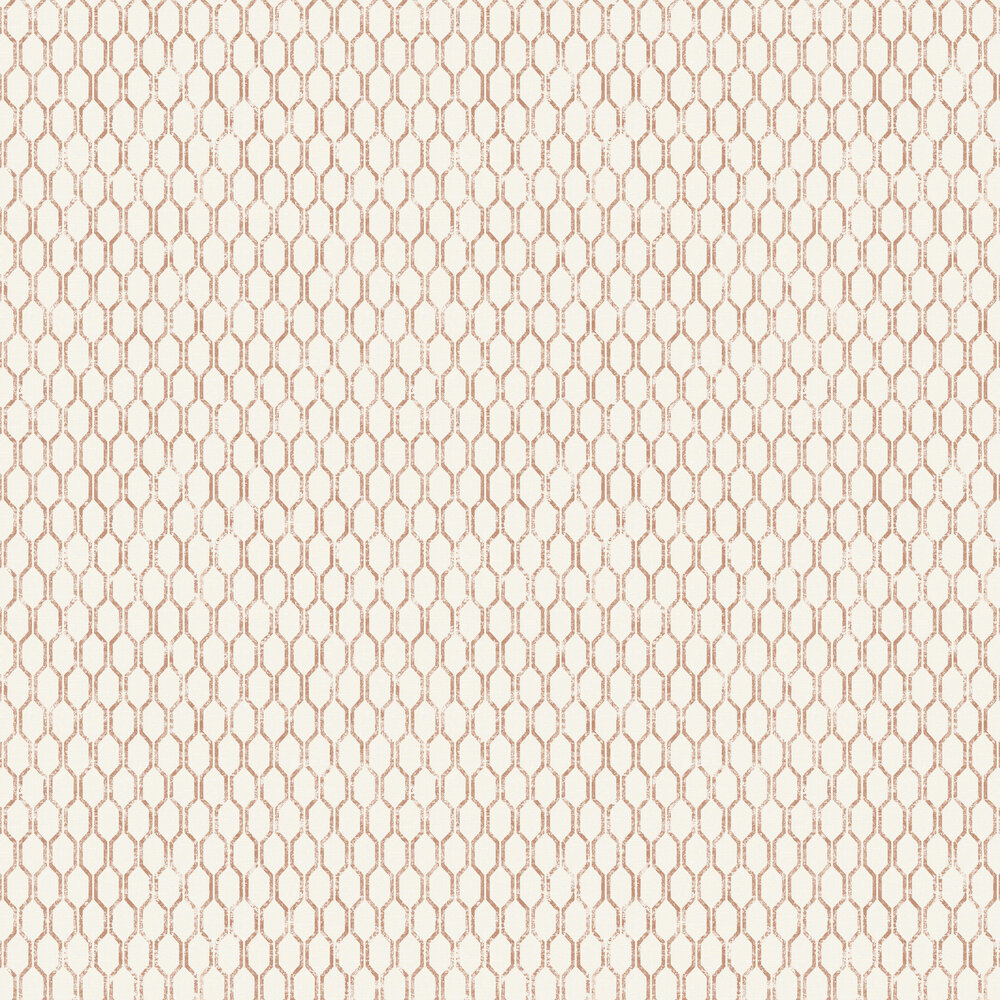 Linen Small Geo Wallpaper - White / Copper - by Albany