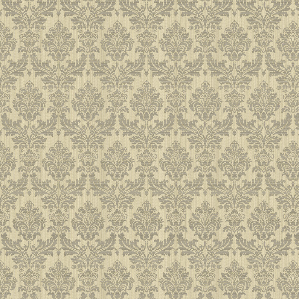 Broken String Damask Wallpaper - Gold / Black - by Albany