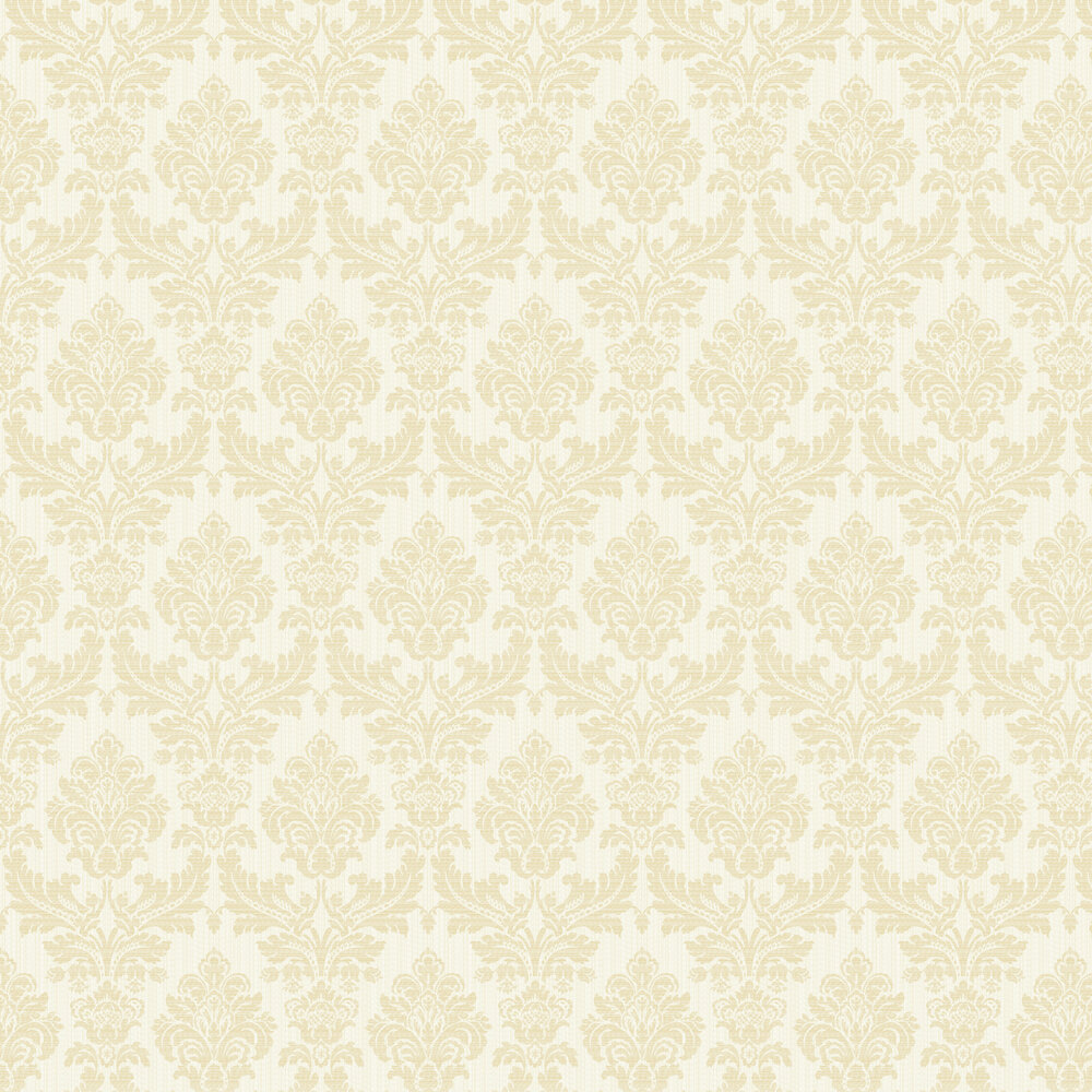 Broken String Damask Wallpaper - White / Gold - by Albany