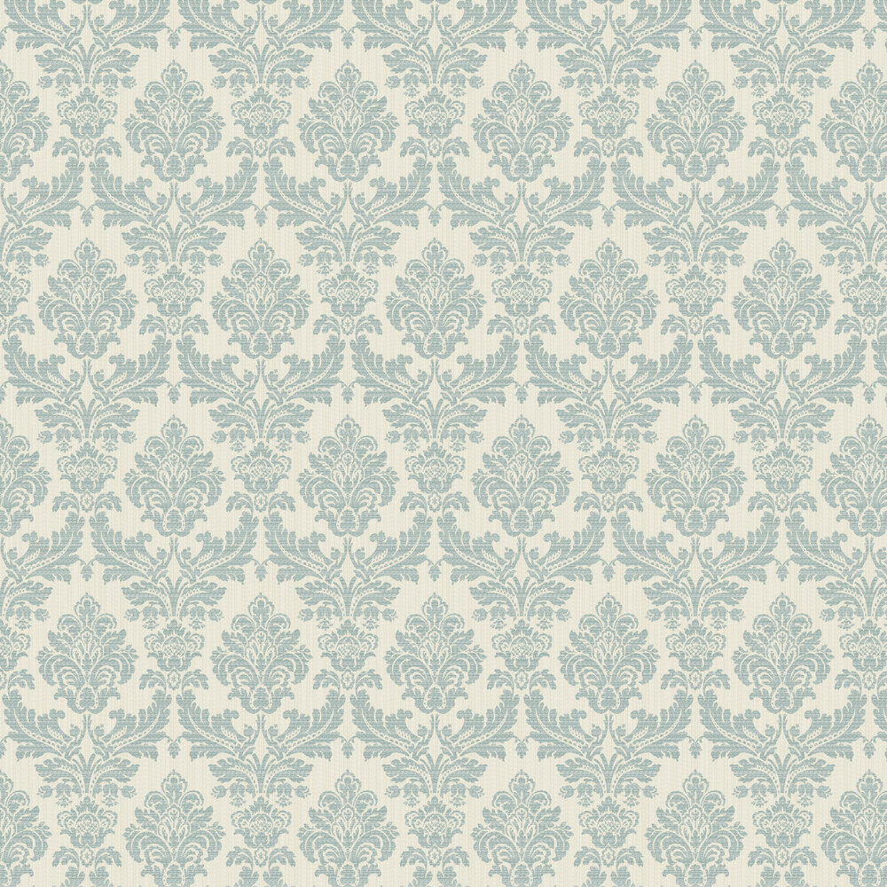 Broken String Damask Wallpaper - Cream / Teal - by Albany