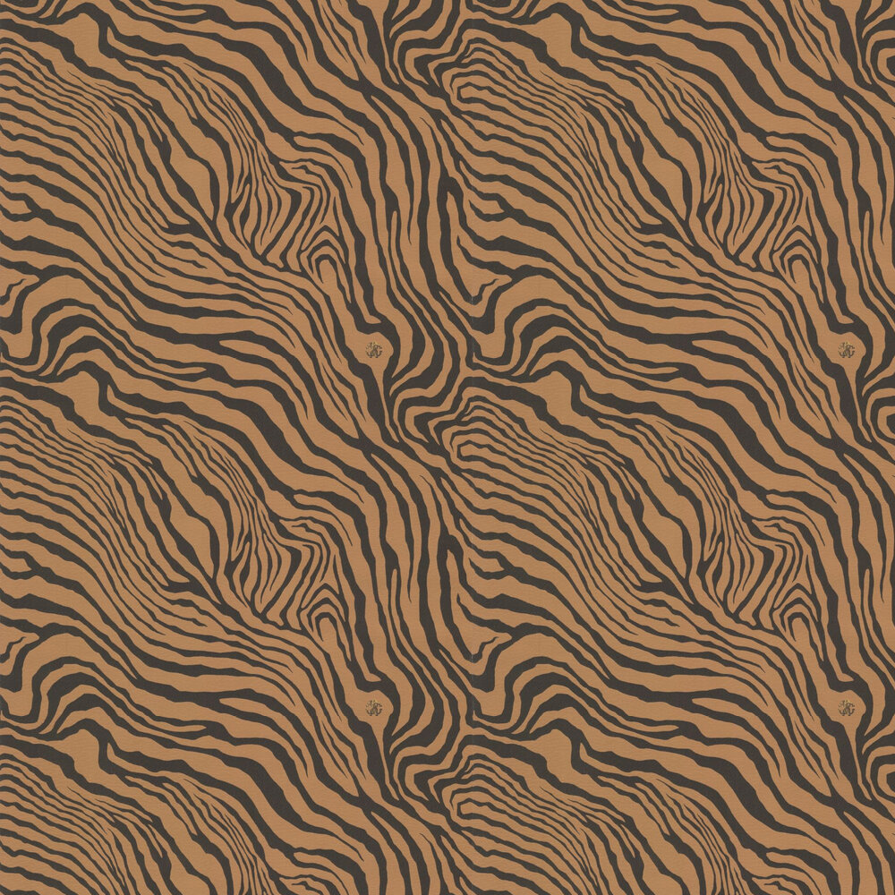 Tiger Print Wallpaper - Black and Bronze - by Roberto Cavalli