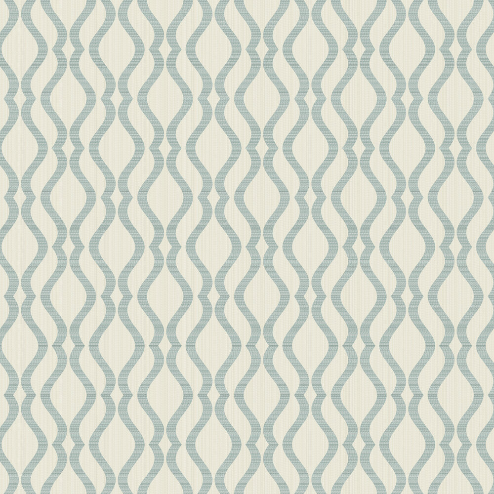Broken String Geometric Wallpaper - Cream / Teal - by Albany