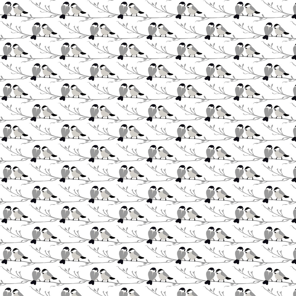 Willow Tit Wallpaper - Grey - by Lorna Syson