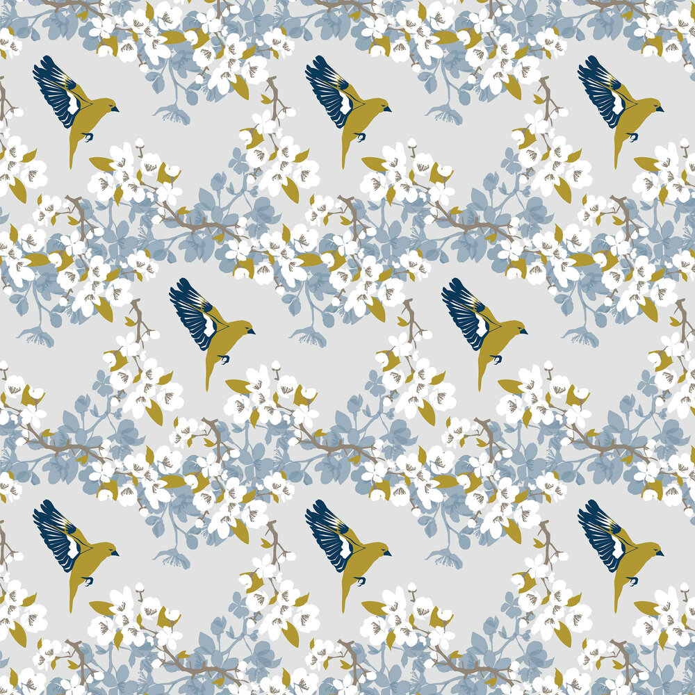Greenfinch Wallpaper - Blue - by Lorna Syson