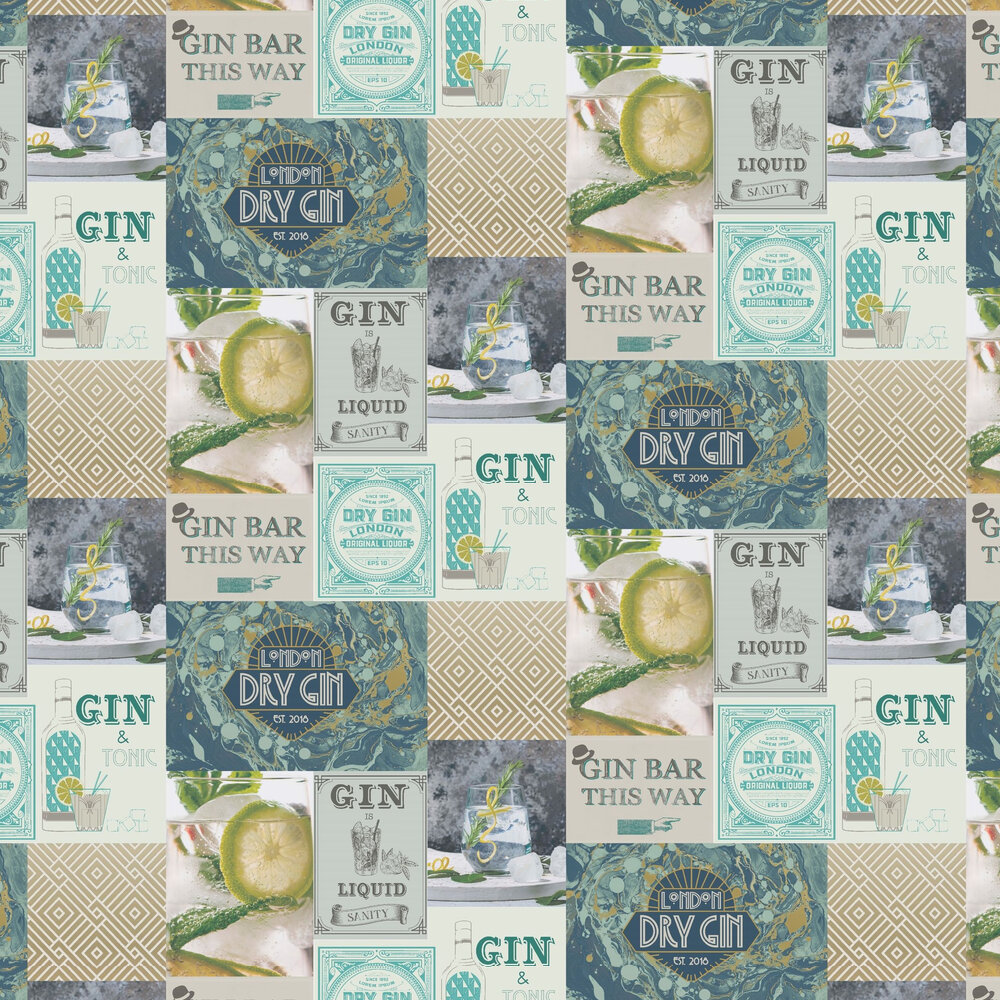 Albany Gin O'Clock Teal & Gold Wallpaper - Product code: M1455