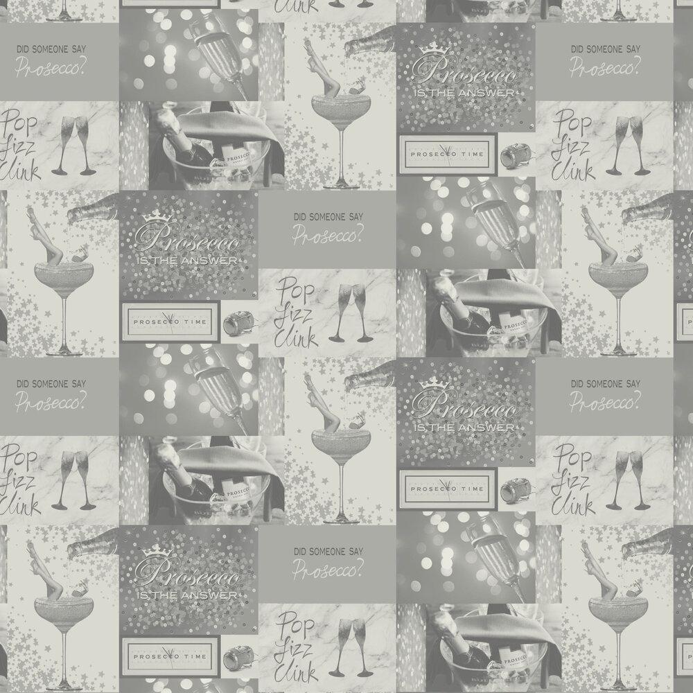 Albany Prosecco Time Mono & Silver Wallpaper - Product code: M1458