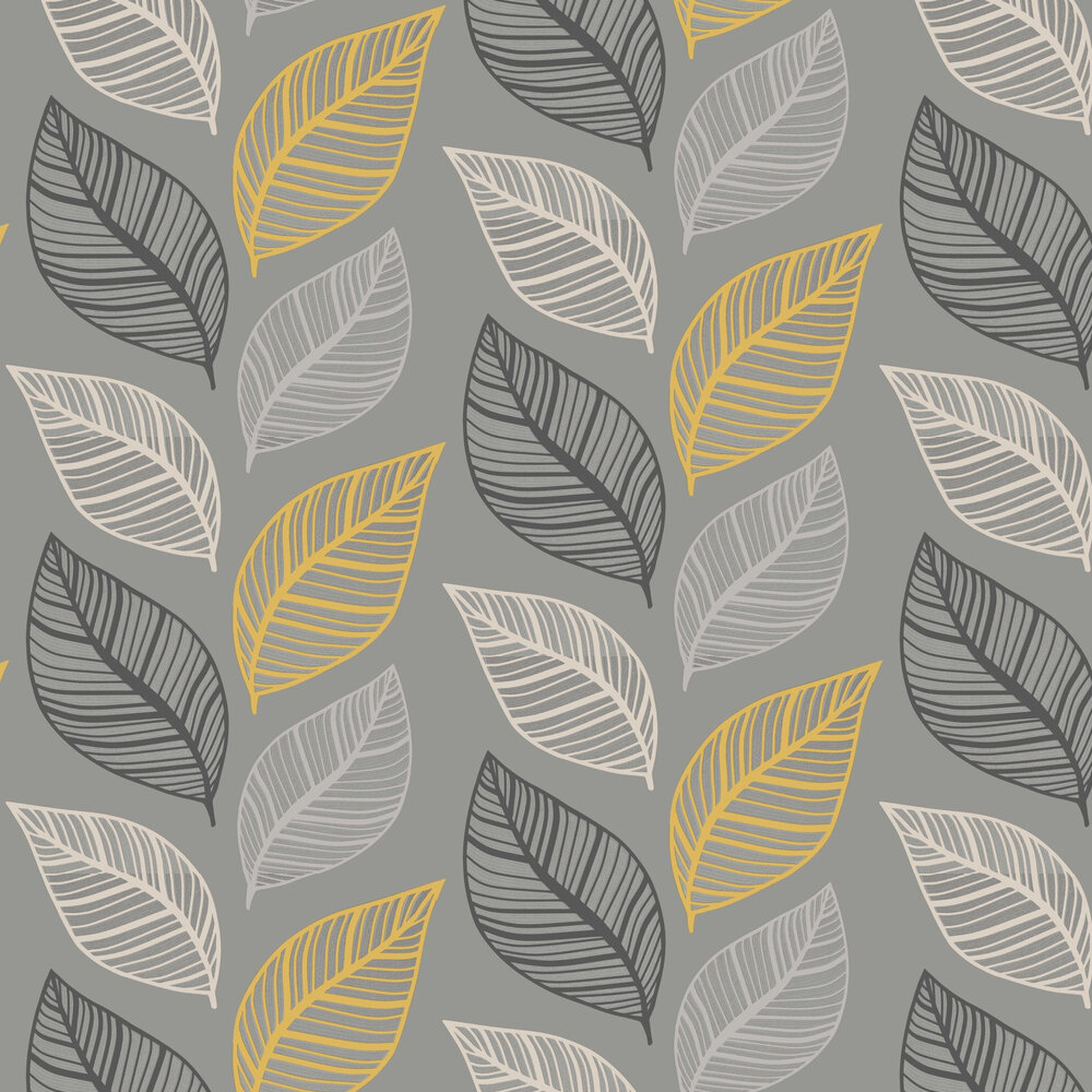 Emporium Elba Wallpaper - Yellow & Charcoal - by Albany