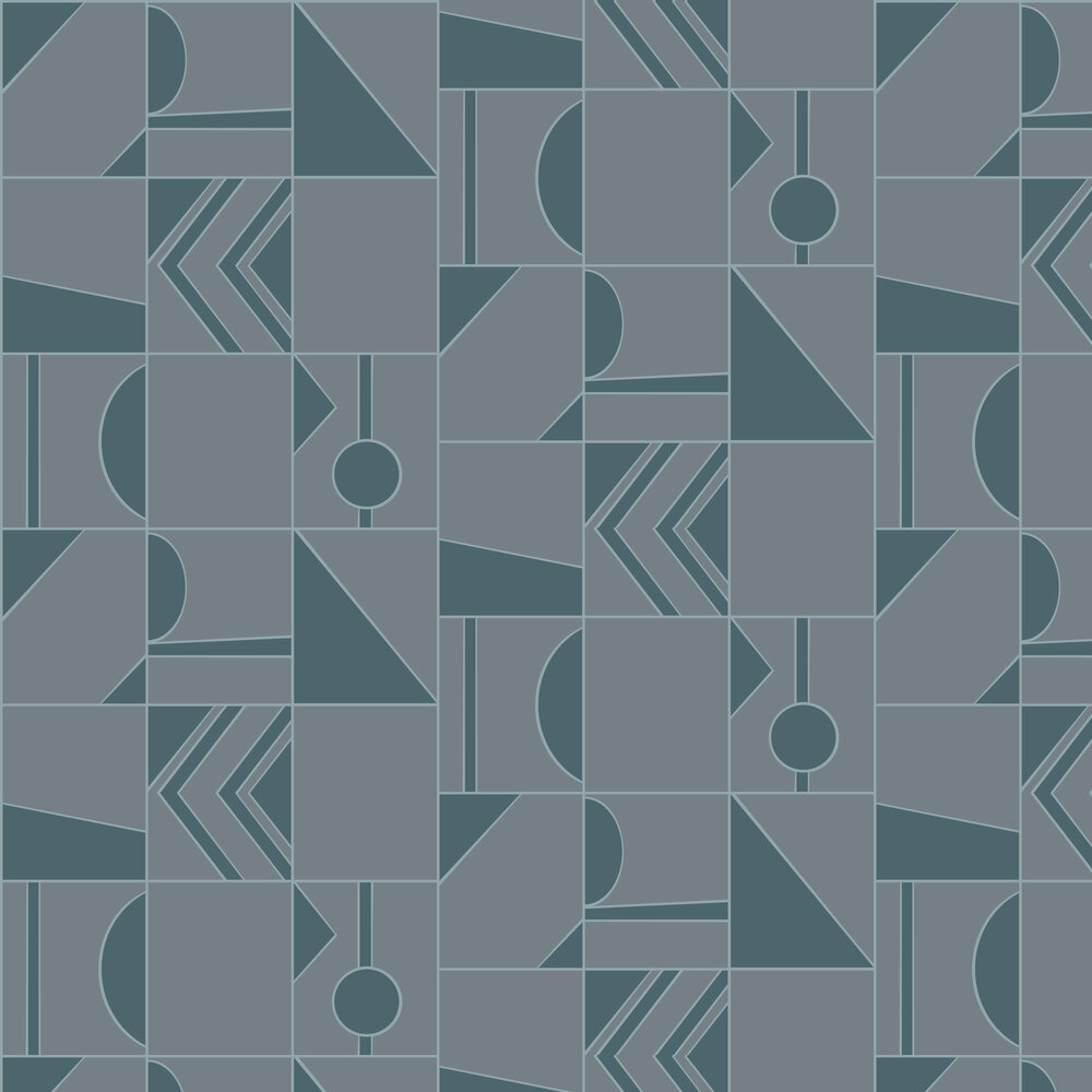 Hooked on Walls Groove Dark Grey / Teal Wallpaper - Product code: 29040