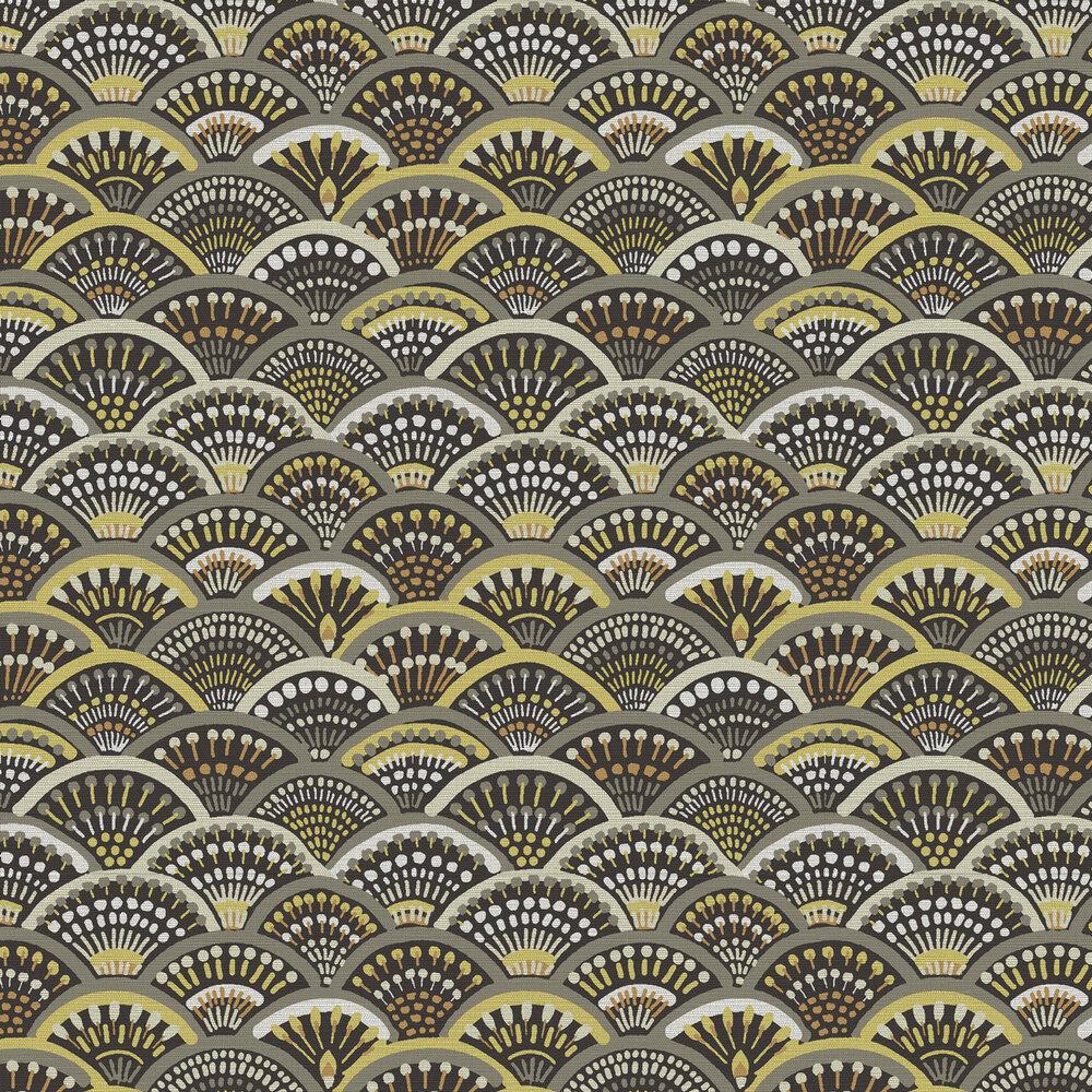 Peacock Wallpaper - Brown / Mustard - by Arte