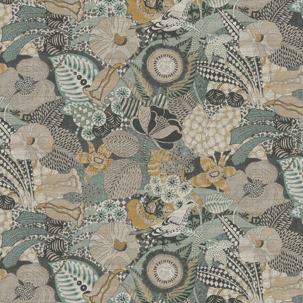Euphoria Wallpaper - Butterscotch / Light blue - by Arte