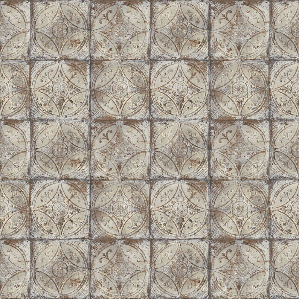 Galerie Tin Tile Grey Wallpaper - Product code: G45373