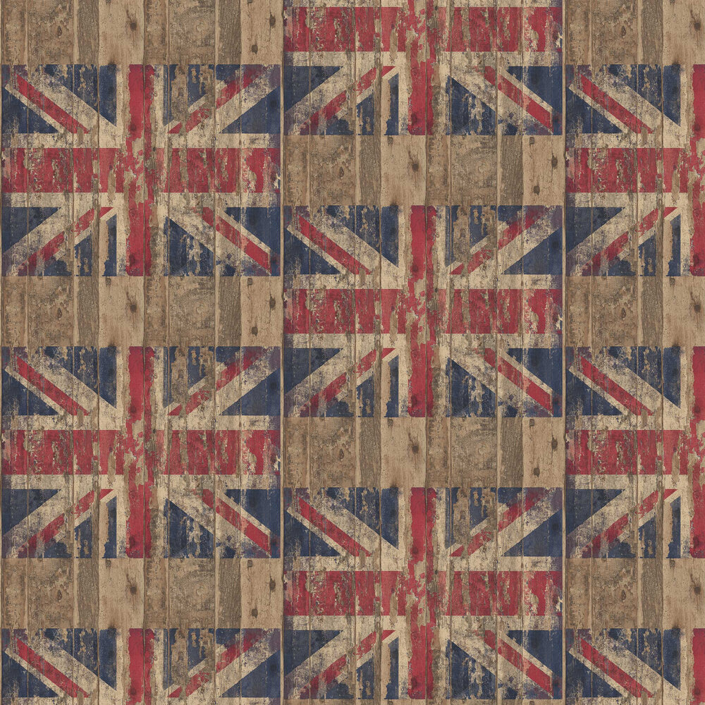 Distressed Flag Wood Wallpaper - Multi-coloured - by Galerie