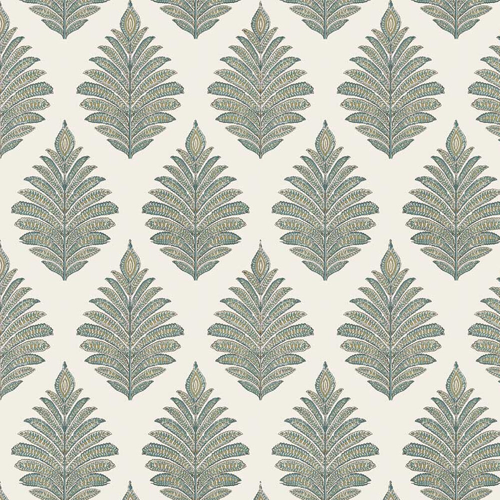 Palampore Leaf Wallpaper - Robin's Egg - by Anna French