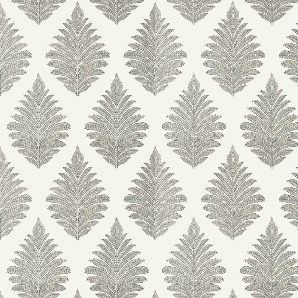 Palampore Leaf Wallpaper - Grey - by Anna French