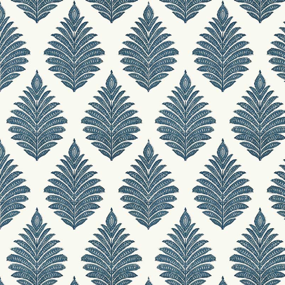 Palampore Leaf Wallpaper - Blue / White - by Anna French