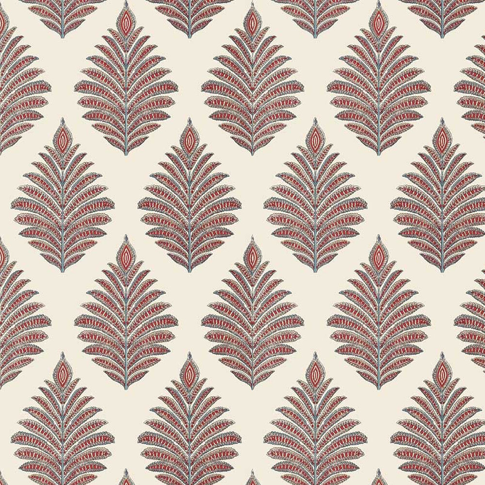 Palampore Leaf Wallpaper - Red / Blue - by Anna French