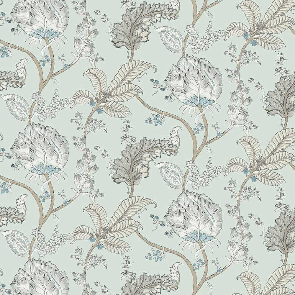 Kalamkari Vine Wallpaper - Robin's Egg - by Anna French