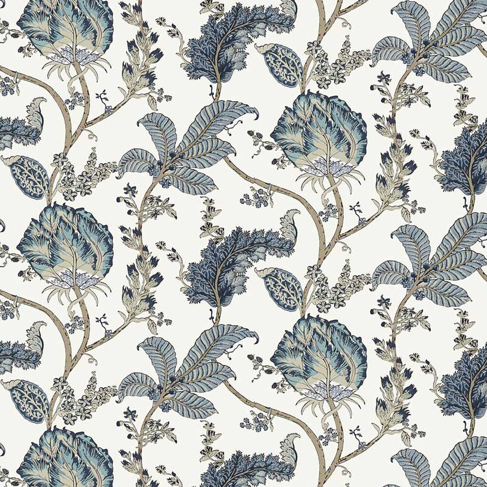 Kalamkari Vine Wallpaper - Blue - by Anna French