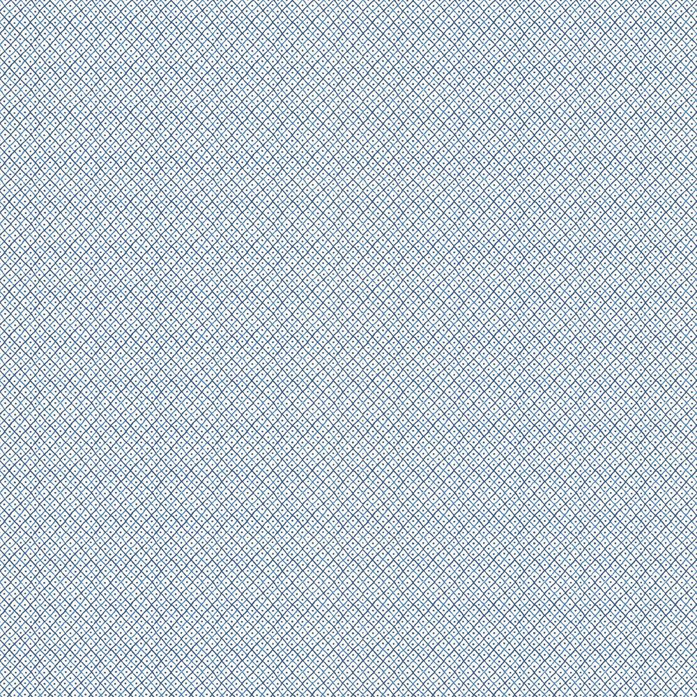 Mini Trellis Wallpaper - Blue - by Anna French