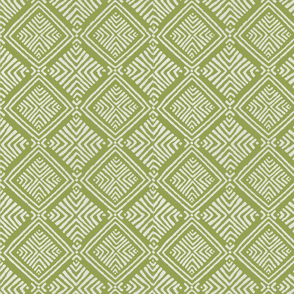 Donavin Diamond Wallpaper - Green - by Anna French