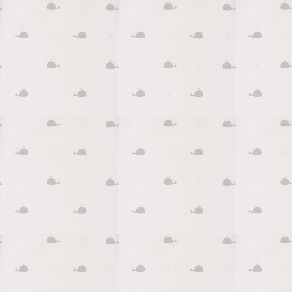 Whale Wallpaper - White & Grey - by Casadeco