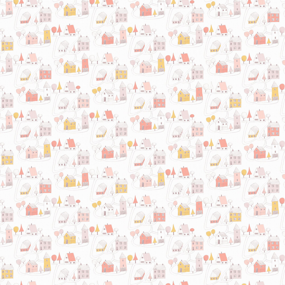 Small Village Wallpaper - Pink - by Casadeco
